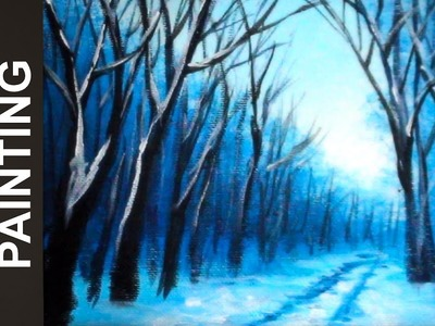 Painting a Snow Covered Winter Road with Acrylics in 10 Minutes!