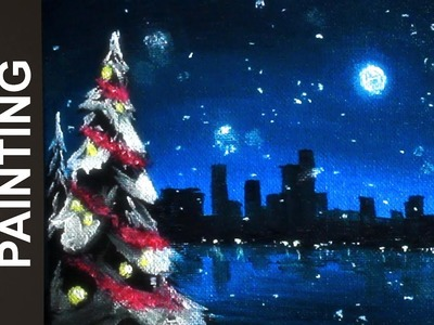 Painting a Winter Snowfall Over the City with Acrylics in 10 Minutes!