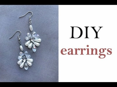 Pendant Earrings DIY - How to Bridal Earring Pearls Crystals Beads