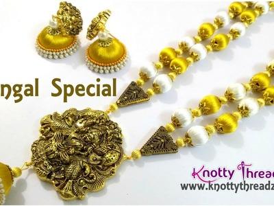 Pongal Special Creation | Silk Thread Lakshmi Haram | Handmade Long Necklace | www.knottythreadz.com
