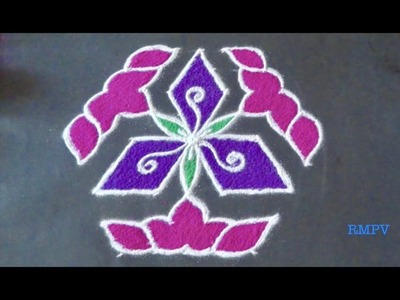 Rangoli Design With COLOURS and dots for fesitvals and competitions 9x5