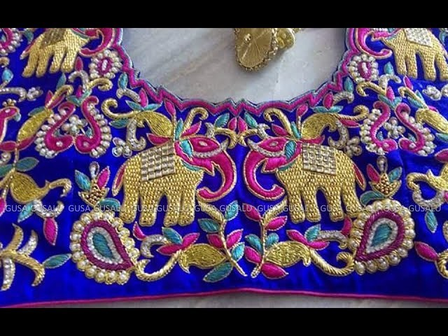 4595a54c000d7a Top Beautiful Latest new party wear Designer Maggam Work Blouse Designs 2017