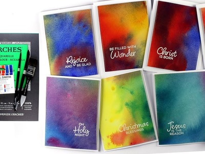 Watercolor Bundle - Easy Backgrounds for Christmas Card Multiples!