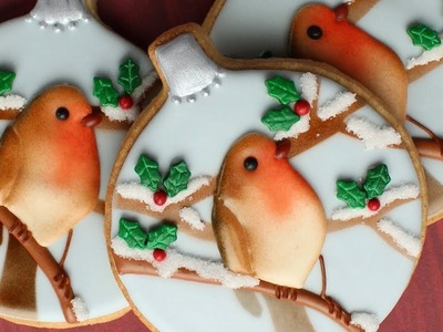 Winter Wonderland Cookies with Robin a Sweet Christmas Cookie -Satisfying video