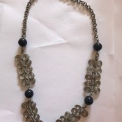 Wire chain necklace with black bead