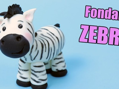 ZEBRA cake topper tutorial! How to make fondant zebra | Fondant cake decorating for beginners