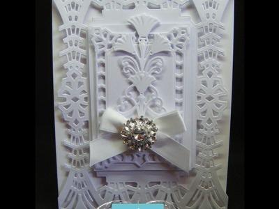 2.Spellbinders: Art Deco Pure & Simple White Wedding Card