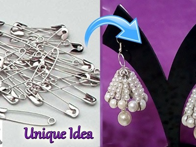 #99 Unique Diy Idea with Safety Pin | Jhumkas making with Safety Pin -Innovative Idea-Jewelry Making