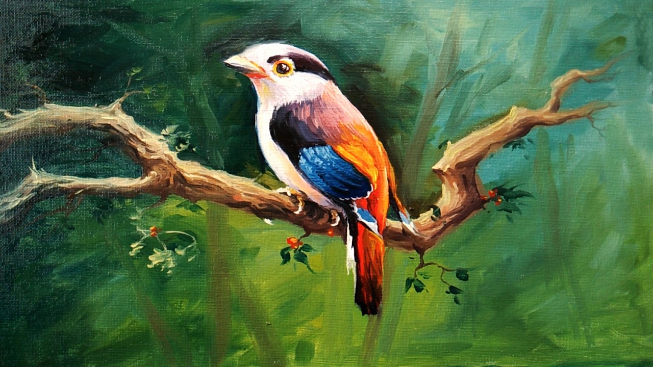 A Bird Painting With Oil Colors On Canvas By Paintlane | OIL PAINTING