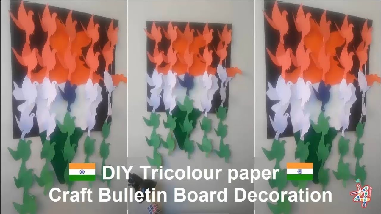 DIY Tricolour paper crafts bulletin board Decoration for School