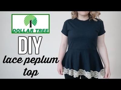 DOLLAR TREE FASHION?!?   DIY LACE PEPLUM TOP   UNDER $15
