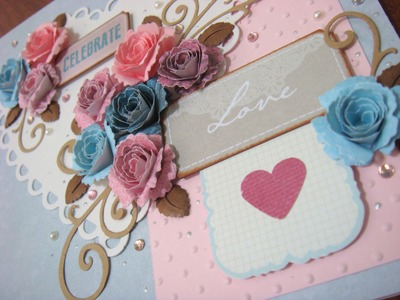 Dusty blue and rose anniversary card
