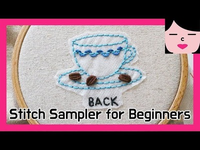 Embroidery stitch sampler book for beginners 1. back stitch 자수 스티치북 만들기 백스티치