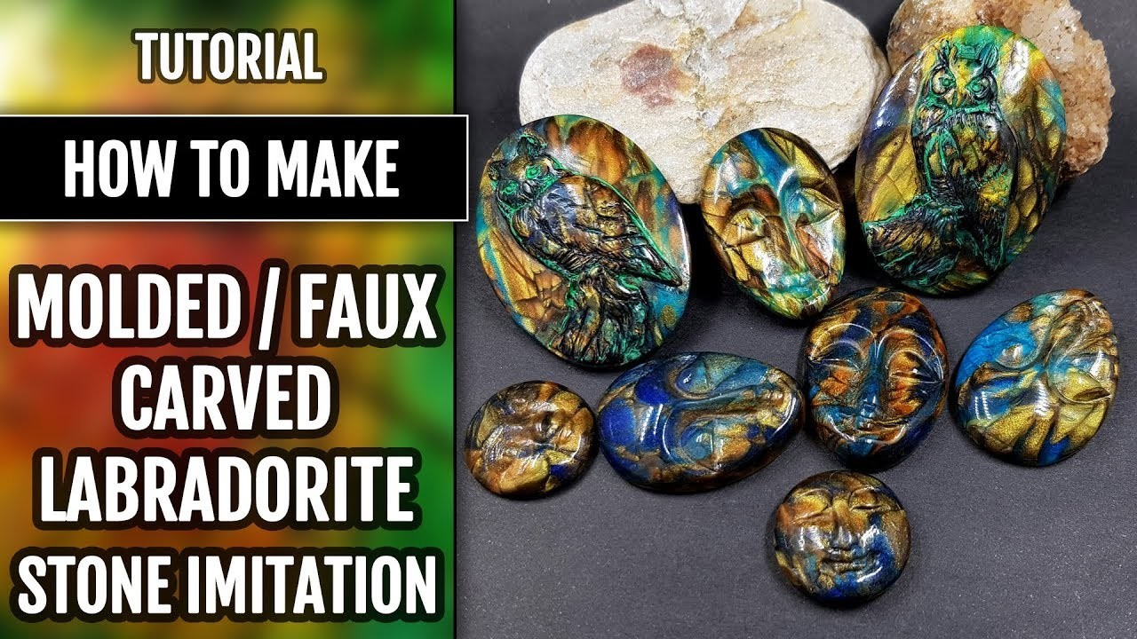 FREE   How to make - Molded. Faux Carved Labradorite Stone Imitation. Tutorial.
