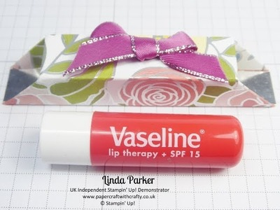 Glue Free Lip Balm.Lipstick Box in Sweet Soiree DSP from Stampin' Up!