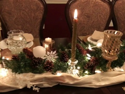 Holiday Centerpiece Winter Wonderland Tablescape Christmas Table Decor