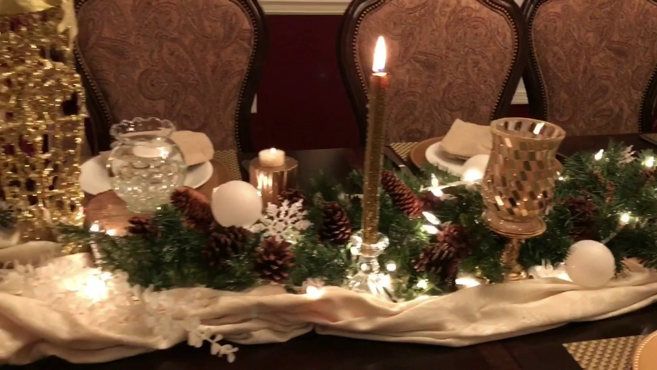 Holiday Centerpiece Winter Wonderland Tablescape Christmas Table Decor