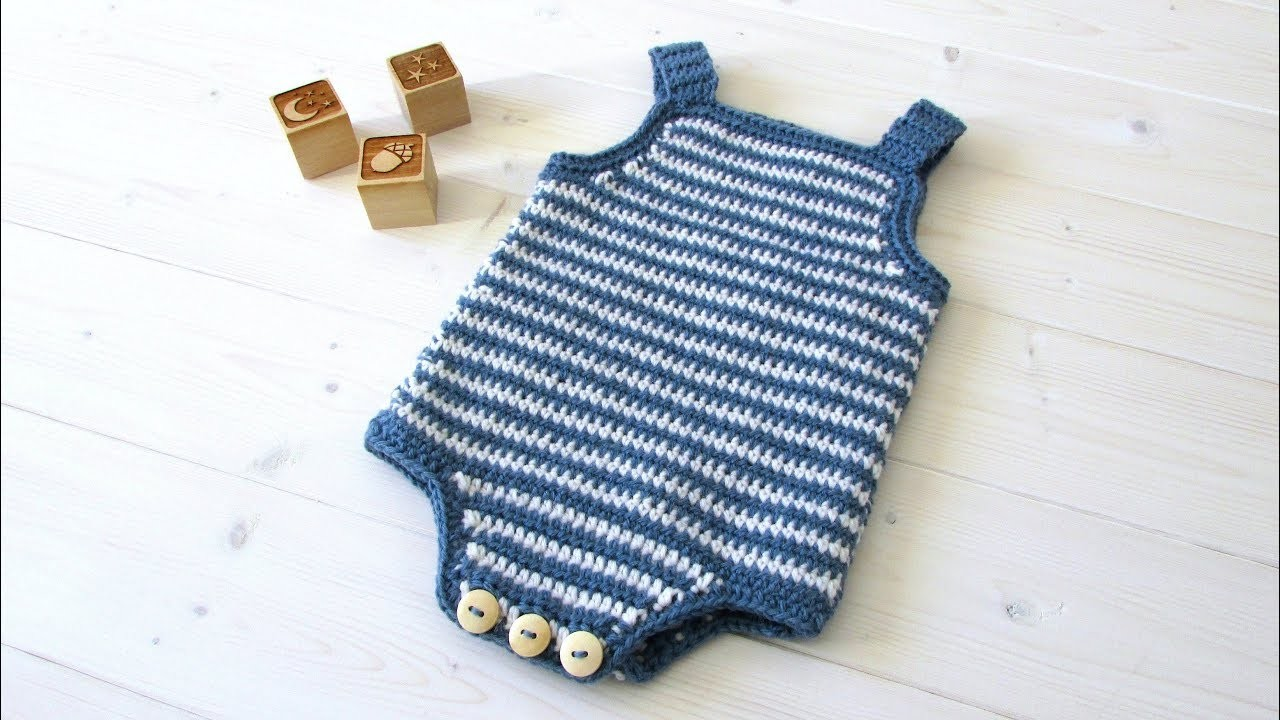 How to crochet a simple striped baby romper. onesie