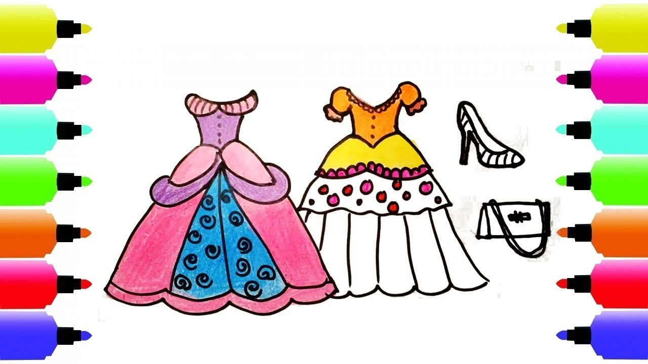 draw how to draw a princess dress for girls coloring