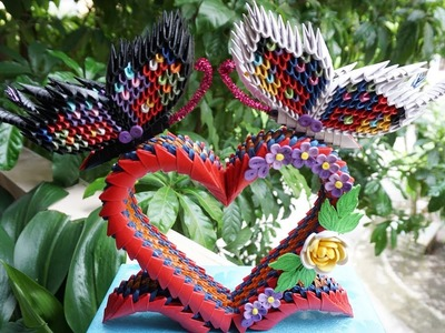 HOW TO MAKE 3D ORIGAMI BUTTERFLIES | DIY PAPER BUTTERFLIES ON HEART STAND VALENTINE GIFT