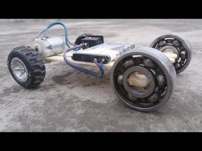 How to make a Battery Powered Toy Mini Electric Motor Car on Bearings   - DC Motor