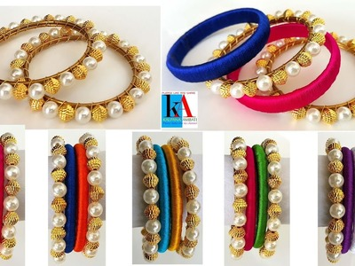 How to make designer pearl Bangles. without wraping silk thread bangles.water proof bangles