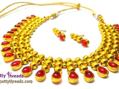 How to Make Kundan Necklace   Designer Red Kundan and Gold Choker    www.knottythreadz.com