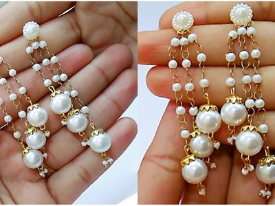 How To Make Pearl Earrings.Tassel earrings At Home. !