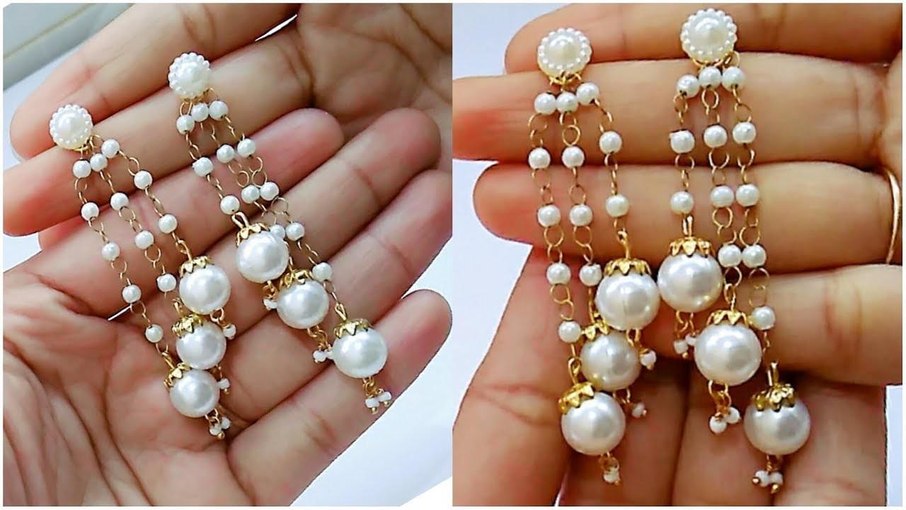 How To Make Pearl Earrings.Tassel earrings At Home. !