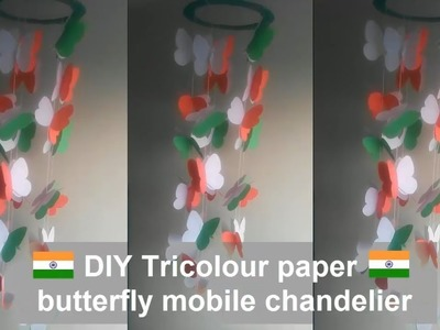 How to make Tricolour paper butterfly mobile chandelier