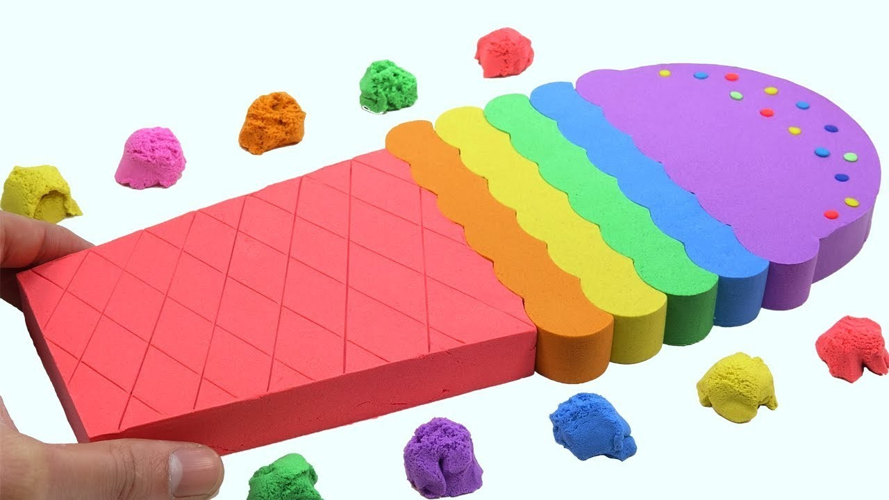 Learn Colors Kinetic Sand Rainbow Ice Cream Cake Surprise Toys How To Make For Kids