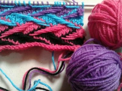 Multi color knitting design in hindi   spring stitch variation   design no 20