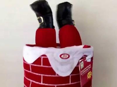 Musical Moving Legs Santa Stuck in Chimney Talking Christmas Large Hat