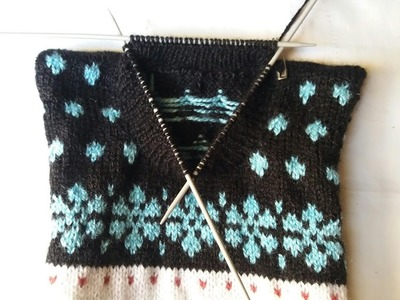 Two colour sweater knitting design # - 12 - part -4