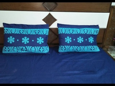 Applique work Designs for Bed sheets.Pillow Cover Pattern 2
