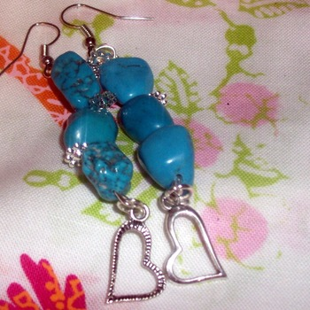 Blue Stone Earrings - 2 inches long