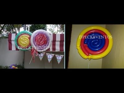 Como hacer paleta con globos - How to make a lollipop balloons - tutorial
