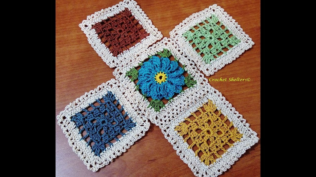Crochet Lacy Window Granny Square Motif-1 to mix with crochet flower square