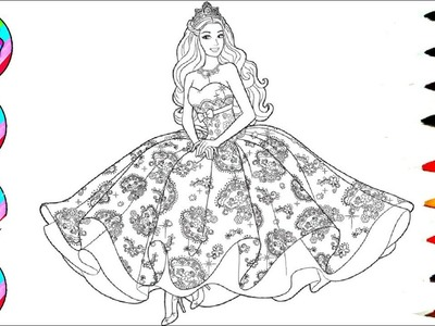 Disney's Barbie in Rainbow Dress Coloring Sheet Coloring Pages l How to Colo Learn Colors