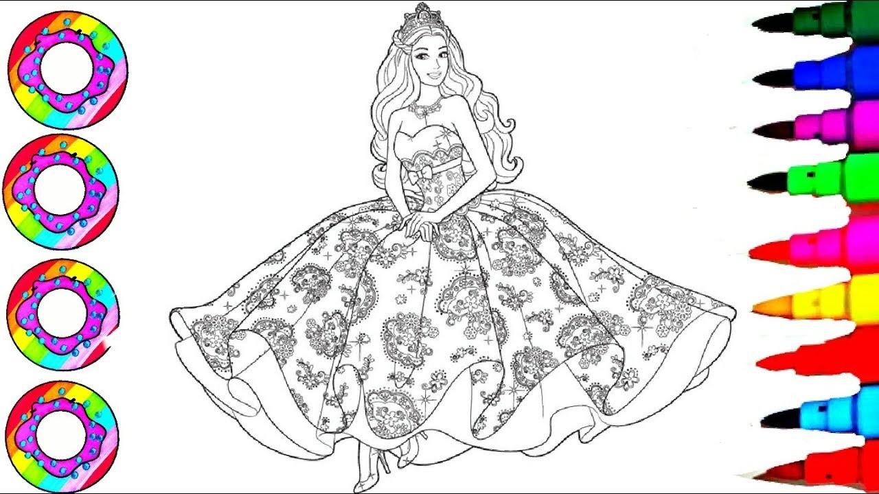 Disneys Barbie In Rainbow Dress Coloring Sheet Coloring