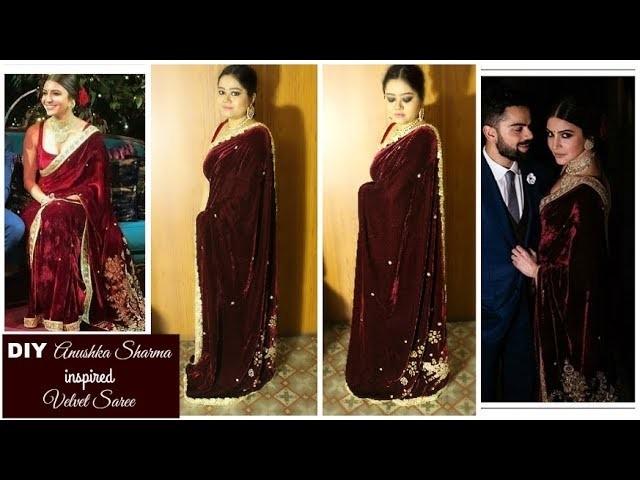 DIY Anushka Sharma inspired Velvet Sabyasachi Saree | How to make a Velvet Saree at Home