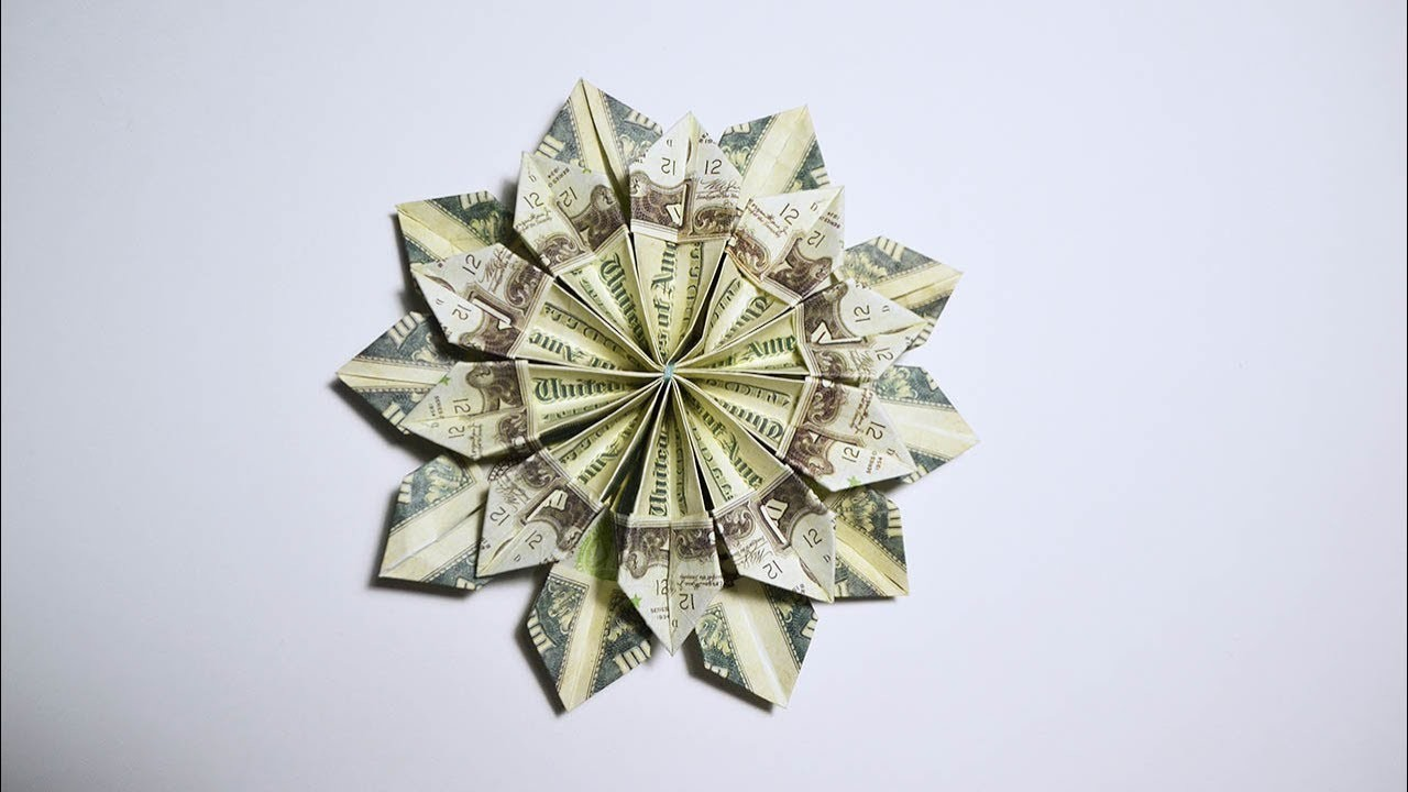 Easy And Fast Money Flower Origami 10 Dollar Bills Tutorial Diy