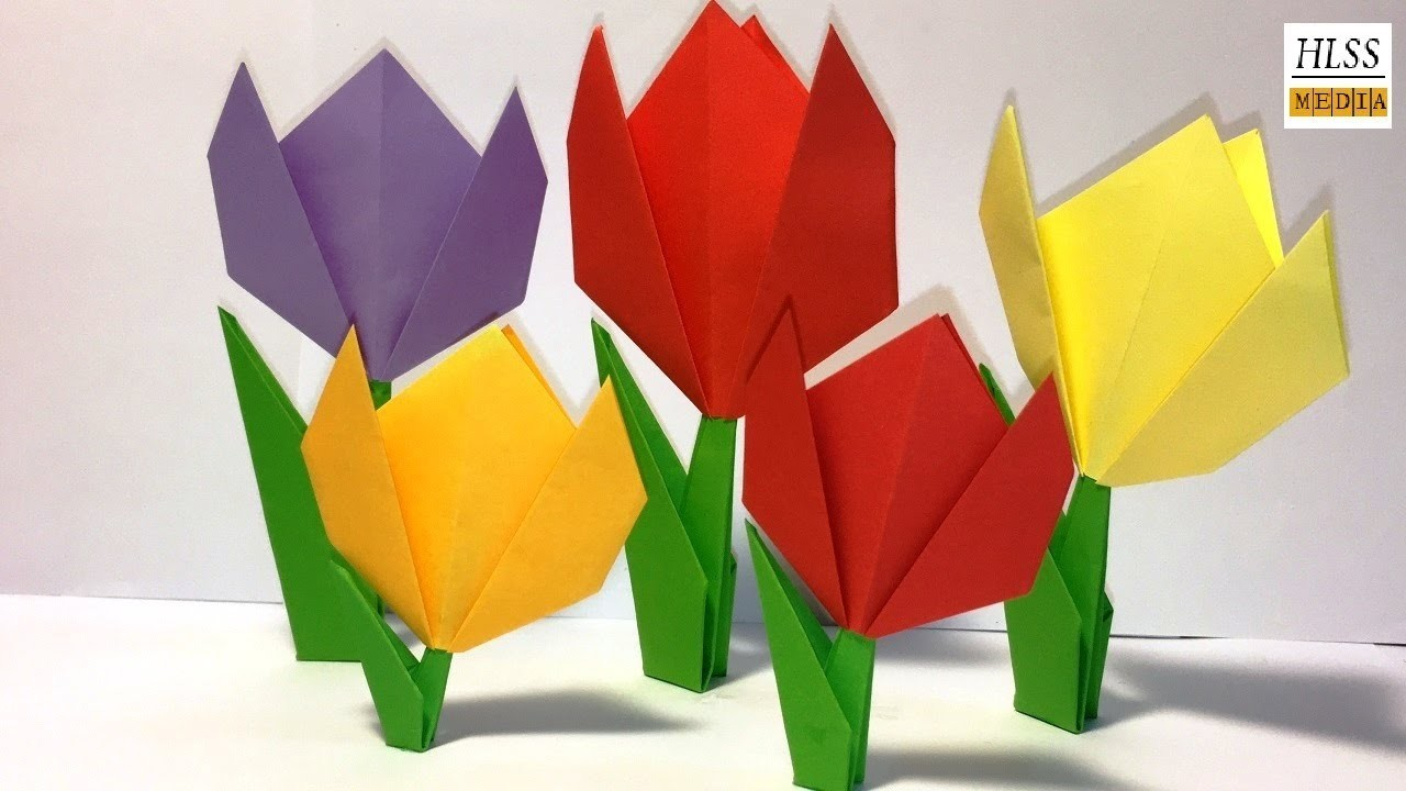 Tutorial Easy Paper Tulip Origami Flower Simple Tutorial For
