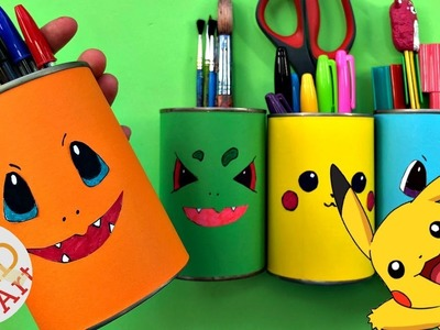 Easy Pokemon Desk Tidy DIY - DIY School Supplies - Pen Pot - Tin Can Challenge