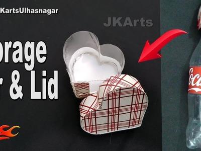 Heart shape Storage Jar Out Of Waste Plastic Bottles | Valentine's Day Gift Idea | JK Arts 1332