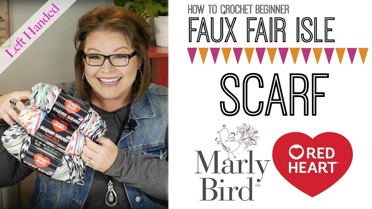 How to Crochet Beginner Faux Fair Isle Crochet Scarf [Left Handed]