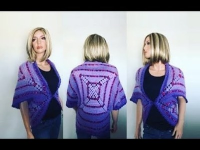 How to Crochet Square Motif Cardigan Pattern #623│by ThePatternFamily