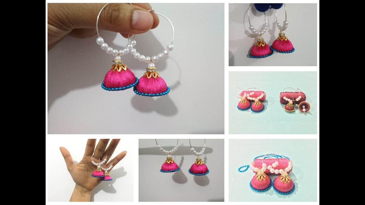 How to make Silk Thread Jhumkas Hoop Style at home   Creative Things