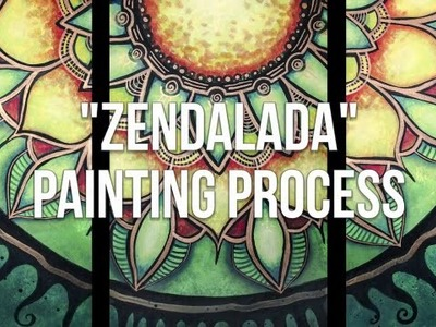 How to paint a Mandala Painting Process Acrylic Painting Triptych Process - Zendalada by Barbara Din
