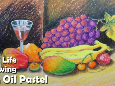 How to Paint A Still Life : Fruits in Oil Pastel | Step by step
